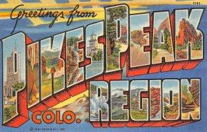 PIKES PEAK REGION Colorado Large Letter Linen Greetings c1940s Vintage Postcard