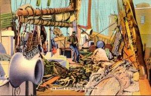 Massachusetts Gloucester Scene On Board A Gloucester Fisherman