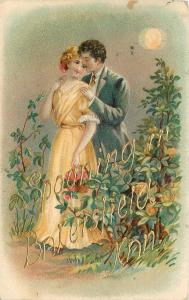 Spooning in Bakersfield KS or CA~Romantic Couple in Garden~Full Moon~Emboss