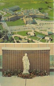 Kokomo Indiana~St Joseph Memorial Hospital~Aerial View & Statue~1975 Postcard