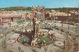 Postal 023879 : Plaza de España y entrada de la feria Internacional de Muest...