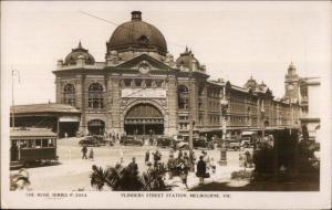 Melbroune Victoria Flinders Street Station Rose Series USED RPPC Australia