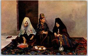 Vintage ISRAEL Postcard Bethlehem Women at Home Hooka Tea c1910s Unused