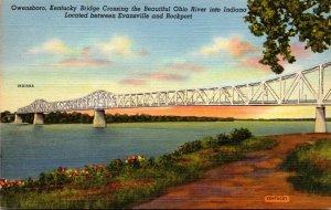 Kentucky Owensboro Kentucky Bridge Crossing The Ohio River Curteich