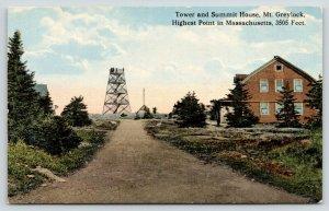Mt Greylock Massachusetts~Men on Top of Tower~Summit House~c1910 Postcard