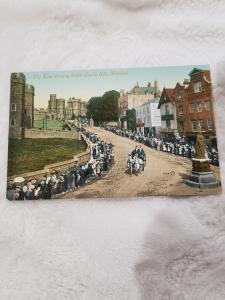 Antique Postcard Windsor Castle, The King driving down Castle Hill, Windsor