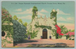 Miami Florida~Unique Plymouth Congregational Church~Vintage Postcard