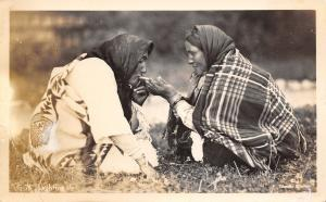Native Americana~Lighting Up Ladies in Blankets Smoking Cigarettes~1940s RPPC
