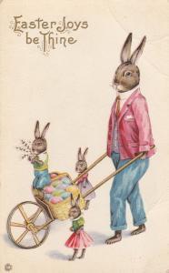Rabbit and Bunnies Wheelbarrow of Eggs Easter Joy Greetings - Stetcher Litho DB