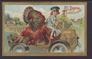 A Joyful Thanksgiving,Boy,Turkey,Car Postcard