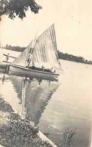 RPPC Pier LAKE MANITOU, IN West Side Sailboat c1910s Photo Vintage Postcard