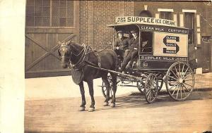 Chester PA Supplee Ice Cream Horse & Wagon Real Photo Postcard