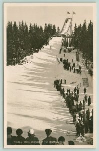 Hindås Härryda~Skidbacken~Ski Jumping Slope~Crowd Watches~Coming War?~RPPC 1951