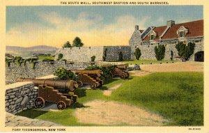 NY - Fort Ticonderoga. South Wall, Bastion & Barracks