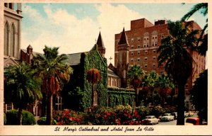Texas Galveston Church Street Showing St Mary's Cathedral & Hotel Jean L...