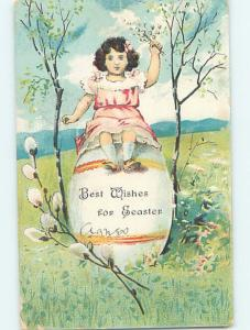 Pre-Linen Easter CUTE GIRL HOLDING PUSSYWILLOW WHILE SITTING ON GIANT EGG HL6901