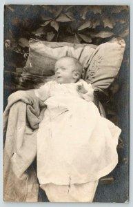 Rome?* NY Pauline Damon Buicko? (or Pauline Dexter) Baby on Grass RPPC c1913