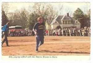 Billy Carter Playing Softball With The Atlanta Braves In Plains, Plains, Geor...