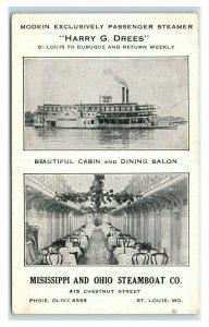 Postcard Passenger Steamer Harry G Drees, Cabin & Dining Saloon U9