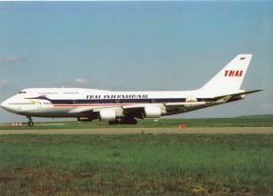 THAI INTERNATIONAL, Boeing 747-400, unused Postcard