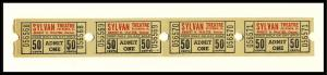 4 Sylvan Movie Theatre Tickets, Sylvania, Ohio/OH, 1950's?