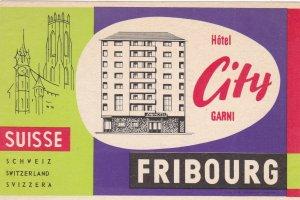 Switzerland Fribourg Hotel City Garni Vintage Luggage Label sk4299