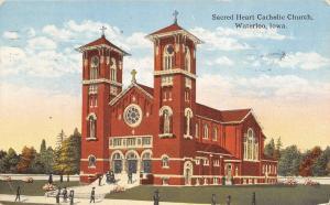 Waterloo Iowa~Sacred Heart Catholic Church~1916 Postcard