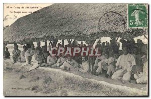 Old Postcard Militaria Camp of Sissonne soup in shelters