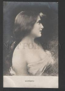120458 BELLE Lady Long Hair by Angelo ASTI old PHOTO Russian