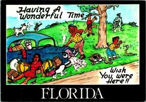Florida Comic Having a Wonderful Time Car Broken Postcard Unused (28688)