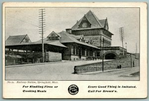 Hartford CT PC Ad For Brown's Quick Fire Charcoal~Springfield MA RR Station 1905
