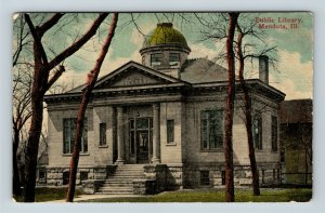 Mendota IL, Public Library, Columns, Street View, Vintage Illinois Postcard