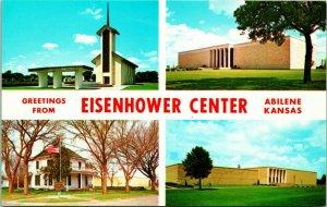 Vtg Postcard Greetings From Eisenhower Center Abilene, Kansas KS Unused