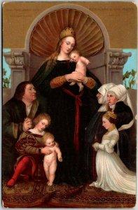 Vintage Religious Postcard DARMSTADT MADONNA Artist-Signed Hans Holbein Unused