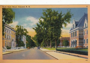 P1722 1948 used postcard old cars a north state st. view concord new hampshire