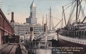 View of water front showing 42 story L.C.Smith Building,Sparks,Nevada,PU-00-10s