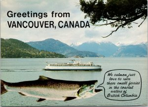 'Greetings from Vancouver Canada' Salmon Fish Boat BC Unused Postcard F58
