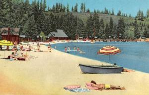 Lake Tahoe Nevada Meeks Bay Resort Beach Scene Vintage Postcard JE229287