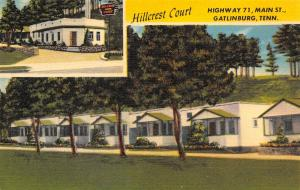 Gatlinburg TN~Hillcrest Court~Roadside Hwy 71 Motel~Morgan King~c1950 Linen PC