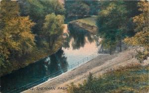 Sioux Falls So. Dak.~Sherman Park~Calm River Scene~View from Hill~1913~Post Card