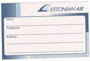 ESTONIAN AIR AIRWAYS VINTAGE AVIATION LABEL