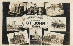 RP: ST. JOHN , Kansas , 1907 ; 8-View Postcard