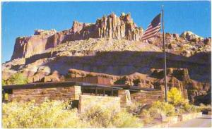Visitor Center and the Castle, Capitol Reef National Park, Utah, UT, Chrome