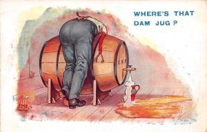 Comic, Barrel Where's that Dam Jug? Stocker Shaw Signed 1927