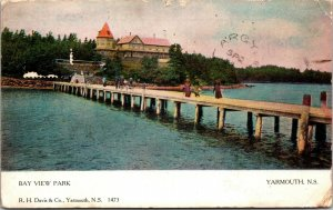 PIER Harbour View From Bay View Park Yarmouth Nova Scotia POSTCARD