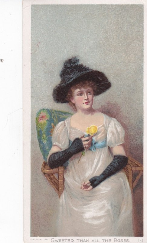 ADV: TC : Woman, yellow rose, Sweeter than all the Roses, 1890s