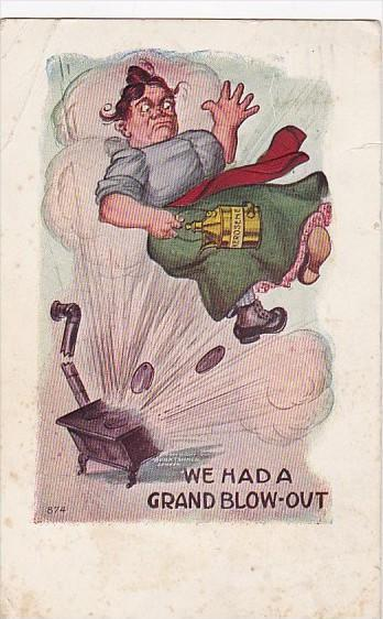 Humour Woman With Exploding Stove We Gad A Grand Blow-Out 1909