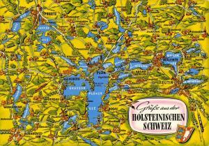 Map Postcard, Holsteinischen Schweiz, Preetz, Plon, Germany, Deutschland 33S