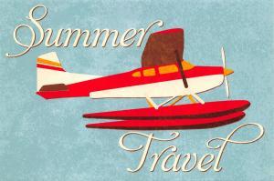 Retro Sea Plane Art Postcard, Summer Travel U71