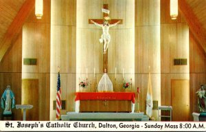 Georgia Dalton St Joseph's Catholic Church Altar With 12 Foot Crucifix